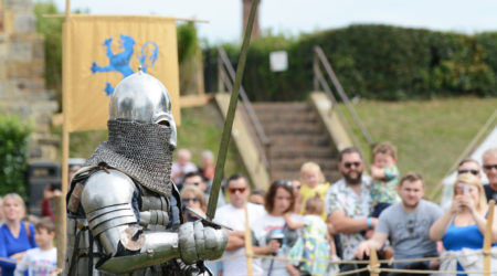 Medieval knight in battle regalia brandishing his sword