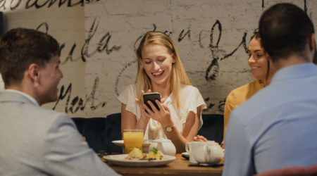 Using Smartphone In A Restaurant